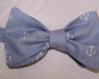 Men's Bow Tie - Gray Anchors Out to Sea by Sarah Jane  - Nautical - Cotton Men's Bow Tie -  Freestyle, Pretied or Clipon  Weddings