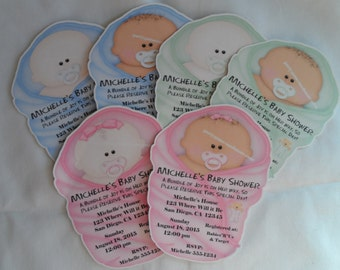 Unique Personalized Baby Shower Invitations, Baby shaped Pink, Blue, Green or Yellow