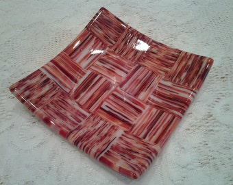 Fused Glass Patchwork Dish, Red Orange Ivory Art Glass Plate - 063