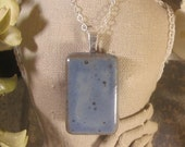 Memorial Rectangle Cabochon with Bail Pendant or Necklace - Custom Keepsake Stoneware Pottery Pet Cremains Charm - Choose Color
