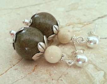 Memorial Bead Earrings - Custom Keepsake Stoneware Pottery Pet Cremains Jewelry - FLORAL TIDE Drop Earrings
