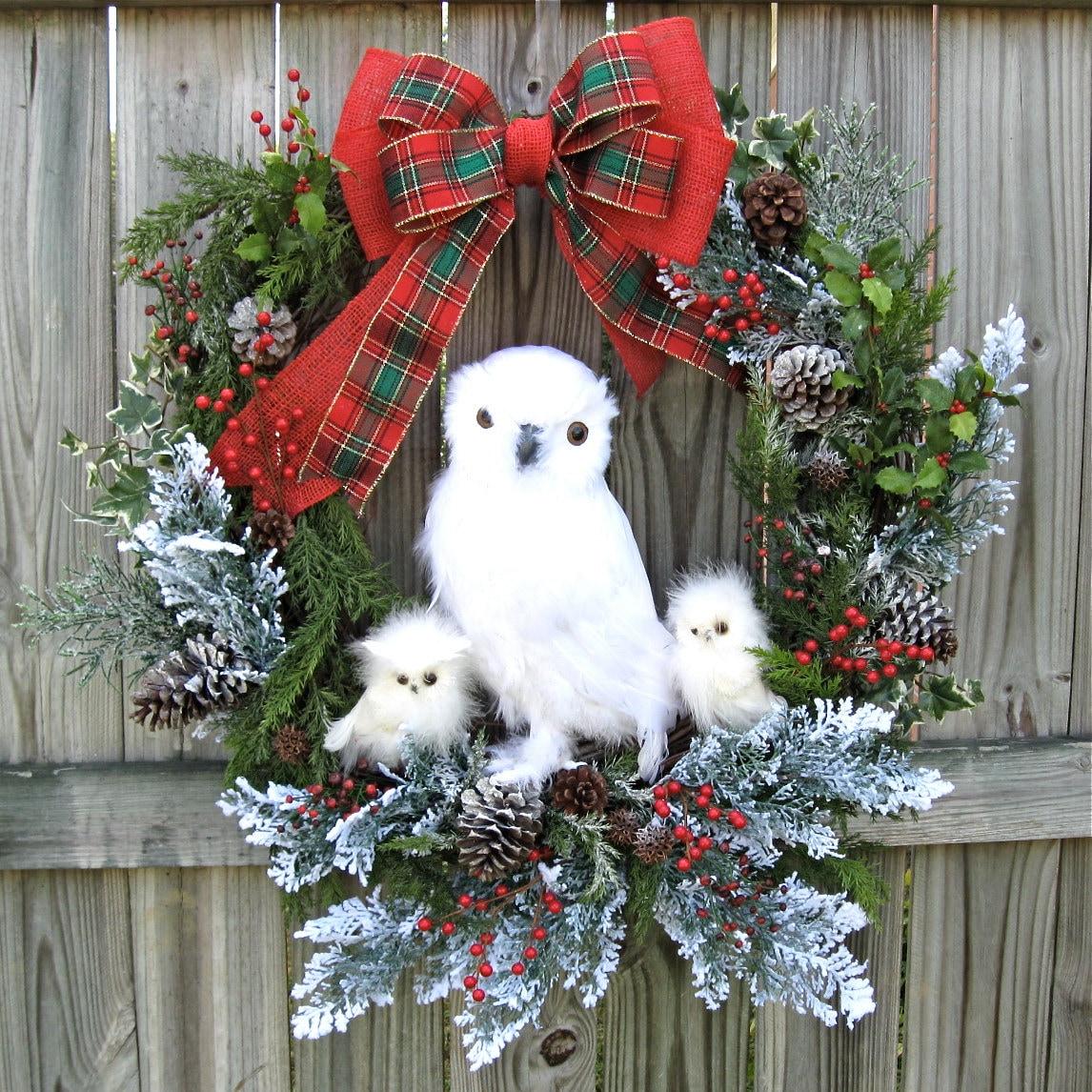 Huge Snow Owl Family Winter Christmas Wreath White Owl
