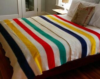 Hudson Bay Blanket Vintage 8 Point KING Size Green, Indigo, Red, Yellow Striped Wool