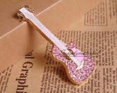 1PCS Bling Pink Crystal Guitar Flatback Alloy jewelry Accessories materials supplies
