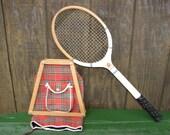Bentley Wilson Wood Tennis Racquet, Racket Press and Red Plaid Racquet Cover, Bentley-Wilson Crusader Racquet, Mid Century Wood Racquet