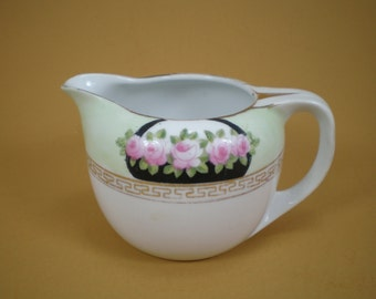 Vintage Porcelain Art Deco Creamer, Hand Painted Nippon Small Pitcher, Green Creamer with Pink Roses