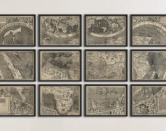 Old World Map Art Print 1507 Antique Map Archival Reproduction Waldseemuller - Set of 12 Prints