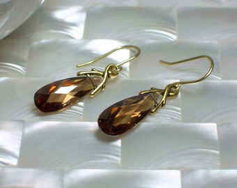 Cubic Zirconia Earrings, Teardrop Earrings, Gold Earrings, CZ Jewelry, Chocolate Jewelry, Jewellery, GIFT IDEAS, Fashion Earring