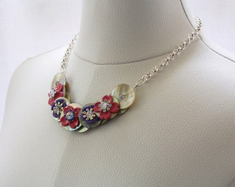 Button Necklace, Vintage Floral Necklace, Mother of Pearl Necklace, Button Necklace with Chain, Swarovski Crystal Necklace