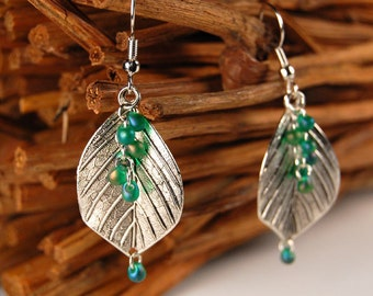 Elegant Silver Leaf & Green Glass Earrings