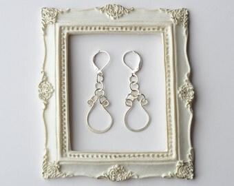 Sterling Silver earrings, Silver Hammered Earrings, Modern Jewelry, Minimalist Jewelry, Wearable Art Earrings, Leverback Earrings,