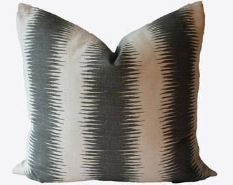 Decorative Designer, Ikat Stripe Gray Pillow Cover, 18x18, 20x20, 22x22 or Lumbar Throw Pillow
