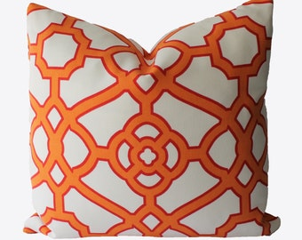 Decorative Outdoor, Indoor Pillow Cover, Orange Lattice Fretwork, 18x18, 20x20, 22x22 or Lumbar, throw Pillow