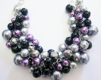 Bridesmaid Bracelet, Purple and Gray Cluster Bracelet, Chunky Bracelet, Pearl Bracelet, Plum Silver Grey