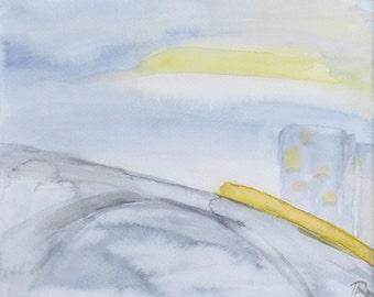 "Original watercolor cityscape, minimal abstract. Blue, grey, yellow  (7.5""x9"") Minimal landscape Modern atwork Minimal decor"