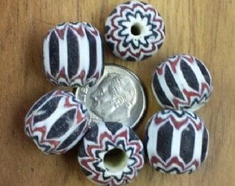 Red/White/Black Large Glass Chevron Beads