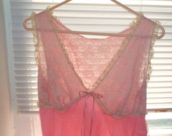 Pink Long Nightgown, Mid Century Lingerie, Off White Lace, Pink Sheer Nylon, Medium