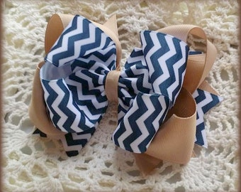 Uniform Hair Bow....Navy White and Tan Uniform Bow....Navy chevron Hair bow....Chevron Uniform Hair Bow...Uniform Bow...