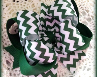 Uniform Hair Bow...Forest Green and White Uniform Bow...Forest Green Chevron Hair Bow...Chevron Hair Bow....Green Uniform Bow