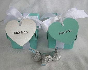 Bride & Co Blue Favor Box Aqua Turquoise Blue Favor Favors Box Boxes Wedding Shower 2 x 2 x 2 Pieces with Lids and Ribbon Custom Any Color