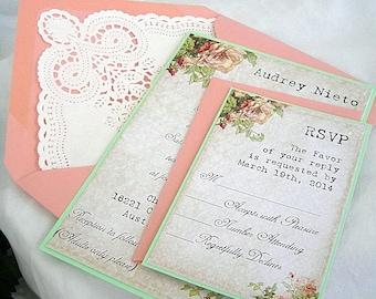 Mint coral wedding Etsy