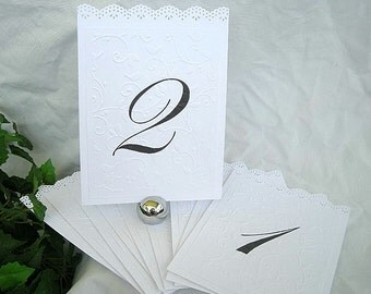 Wedding Table Number Cards Doily Lace Reusable Elegant Embossed Ivory White  Shabby Chic Any Color