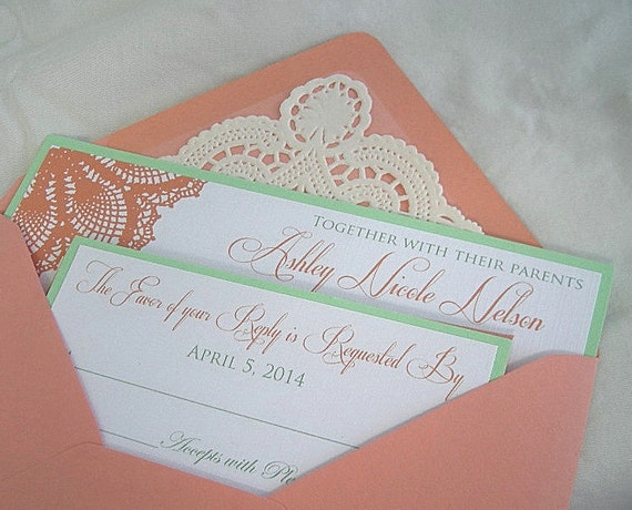 Wedding Invitations Coral Color: Items Similar To Coral N Mint Green Wedding Invitation W