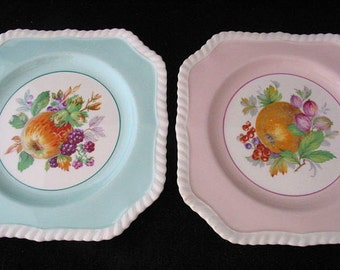 Johnson Brothers of England California Square Salad Plates in Pink and Aqua with Fruits Vintage 1960s