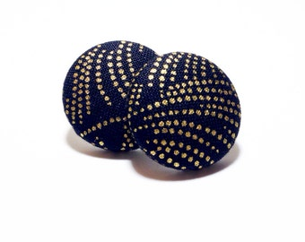 Small Gold Fireworks Print Button Earrings