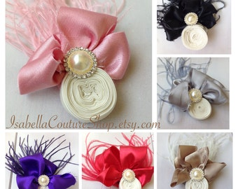 Shabby Chic Ivory Rosette Hair Clip by Isabella Couture