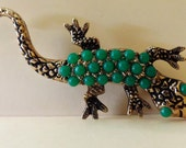 Vintage Emmons Gecko Brooch Lizard with Faux Green Stones