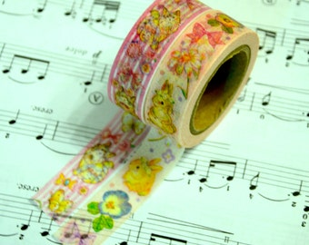 2 Rolls of Japanese Washi Tape Roll- Cats and Bunny