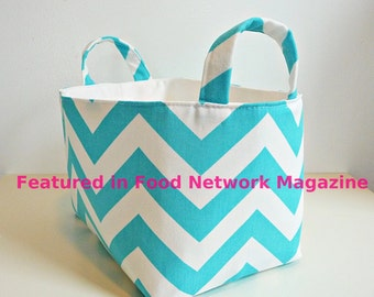 Chevron Storage Basket Fabric Organizer in Zig Zag Twill Girly Blue and Canvas - Gift Basket/Hostess Gift