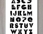 Alphabet Print  |   Monochrome  |   Black and White  |   Animals
