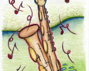 Post card with saxophone drawing, baritone sax card, musical instrument card, greeting card, funny birthday card, musician collectors item