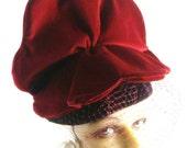 Reserved for Jesse - Art Deco 1930s Large Burgundy Velvet Flower on Black Velour Felt Cocktail Hat