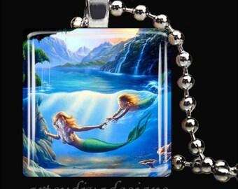 MOTHER & DAUGHTER MERMAIDS Mermaid Love Ocean Fantasy Glass Tile Pendant Necklace Keyring