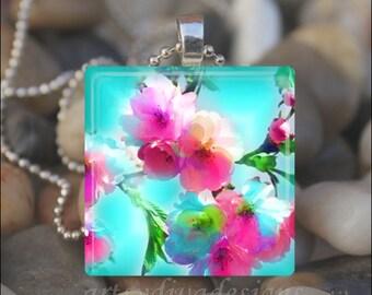 CHERRY BLOSSOMS Sakura Tree Pink Blue Flowers Glass Tile Pendant Necklace Keyring