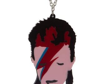 David Bowie - Aladdin Sane necklace - laser cut acrylic