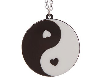 Yin Yang Heart necklace - laser cut acrylic