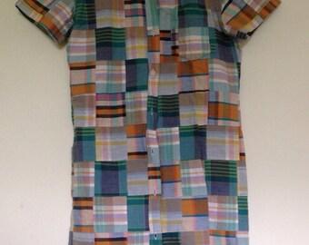 Patchwork Madras Plaid Preppy Shirtdress