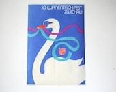 Original German Advertising Poster - 1980- Swan design reversible
