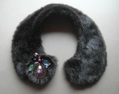 Handmade synthetic fur Peter Pan vintage style collar, necklace