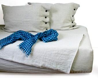 Linen sheet set - linen fitted sheet - linen flat sheet - queen sheet set - linen sheets - queen linen sheets - queen bedding sheet