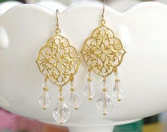 Gold Chandelier Earrings - Bohemian Dangle Earrings - Big Earrings - Moroccan Style - Crystal Chandelier Earrings - Christmas Earrings