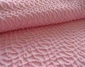 "DOWNSIZING SHOP SALE...Pink Morgan Jones Needletuft Squiggle Vintage Chenille Bedspread Fabric Piece...12 x 24"""