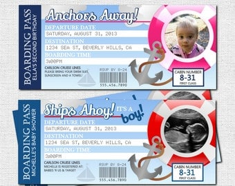 BOARDING PASS INVITATIONS Cruise Ship Nautical Birthday or Baby Shower Tickets - (print your own) Personalized Printable