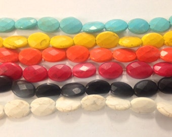 13x18mm oval faceted howlite, 22 beads