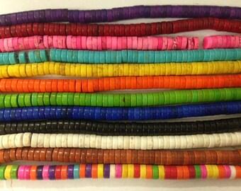 howlite heishi beads, 3x8mm , around 110 beads
