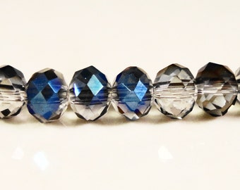 Rondelle Crystal Beads 4x3mm Montana Blue AB Small Faceted Chinese Crystal Glass Abacus Beads for Jewelry Making 100 Loose Beads per Pack